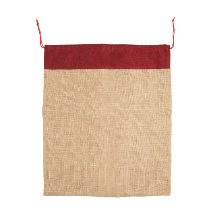 Personalisable Jute Sack with Red Trim product image