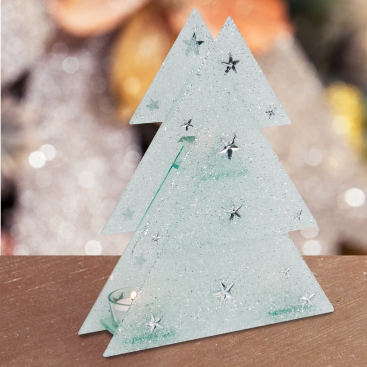 Glitter Glass Christmas Tree Triple Tealight Holder product image