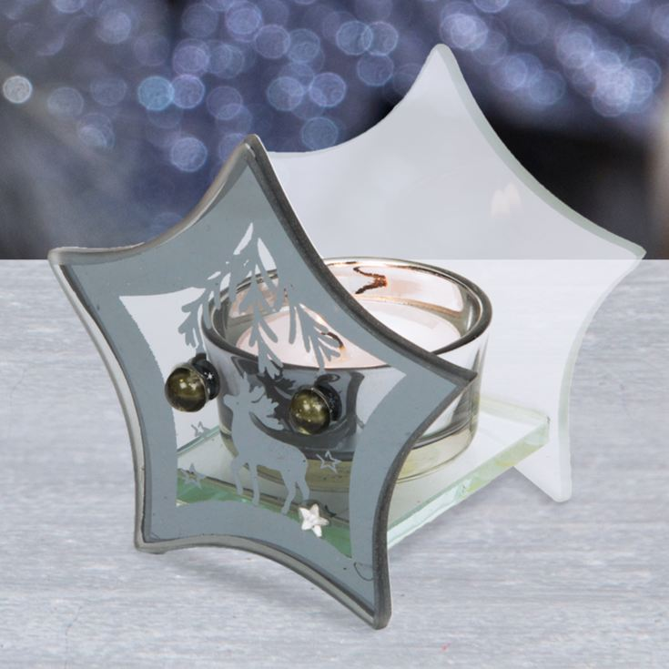 Navy Reindeer Single Star Tealight Holder product image