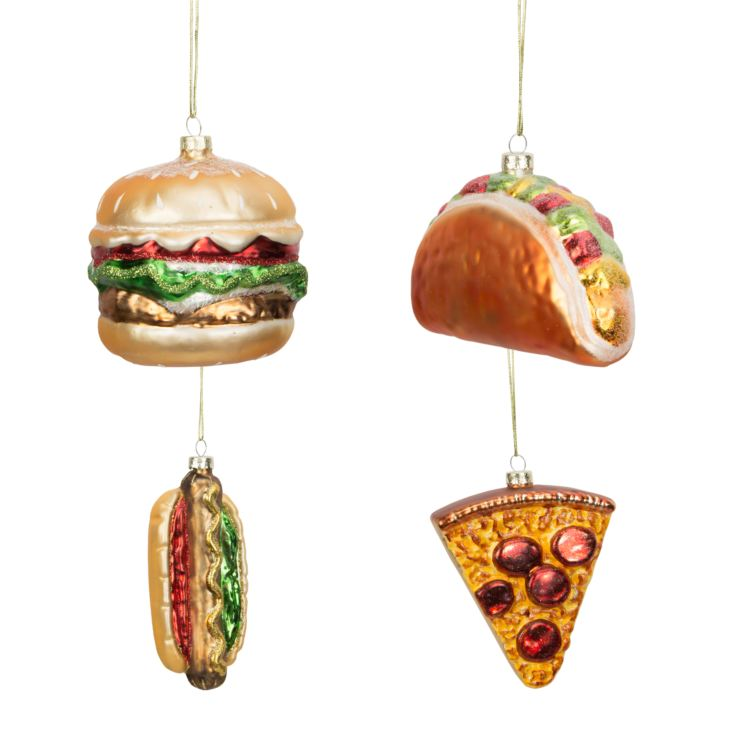 Set of 4 Glass Fast Food Baubles product image
