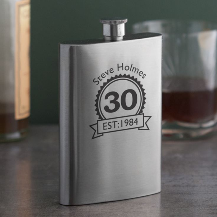 Personalised 30th Birthday Hip Flask Product Image