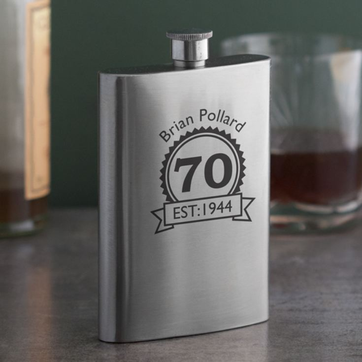Personalised 70th Birthday Hip Flask product image