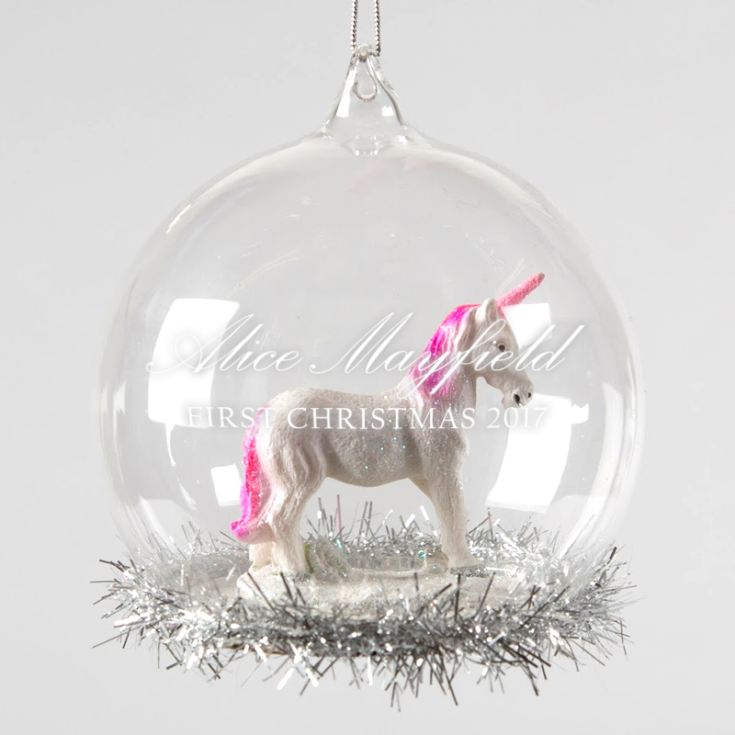Personalised My Little Unicorn Glass Bauble With Tinsel product image