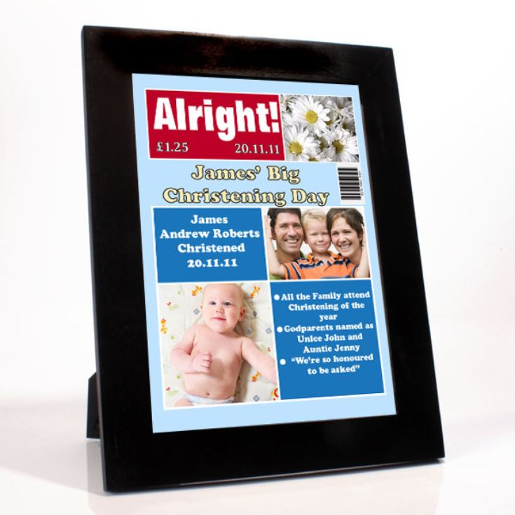 Personalised Christening Magazine Cover - Boy product image