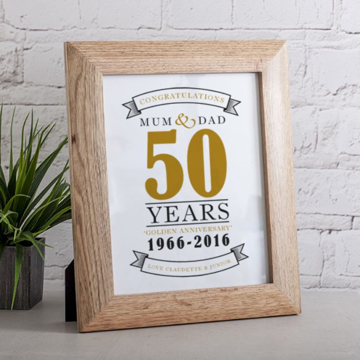 Personalised Golden Anniversary Print product image