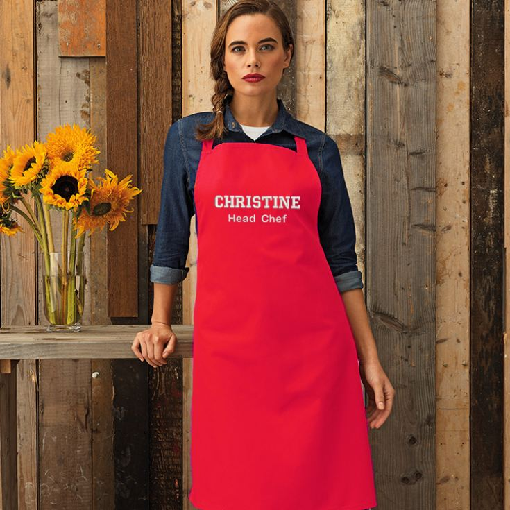 Personalised Embroidered Red Adult Bib Pocket Apron product image
