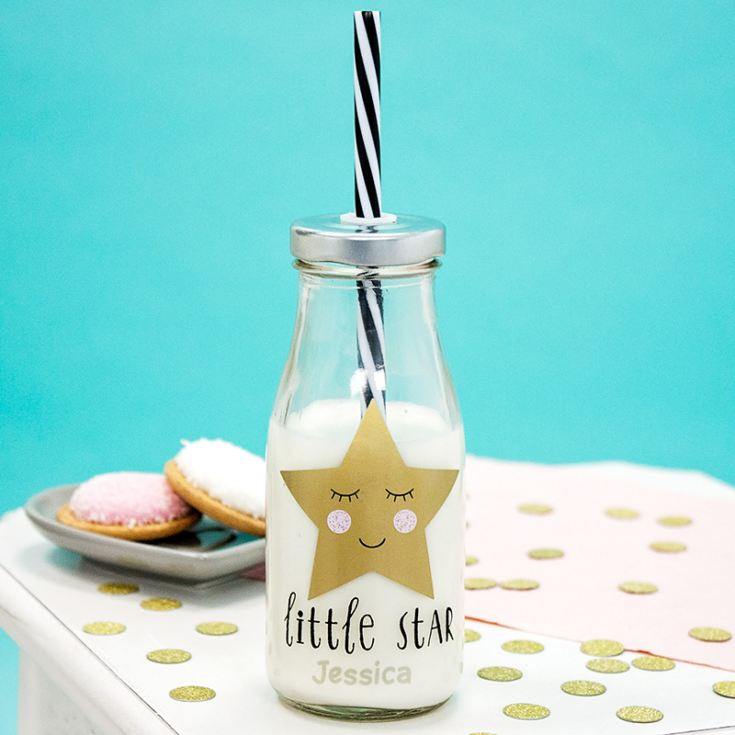 Personalised Sweet Dreams Mini Milk Bottle with Straw product image