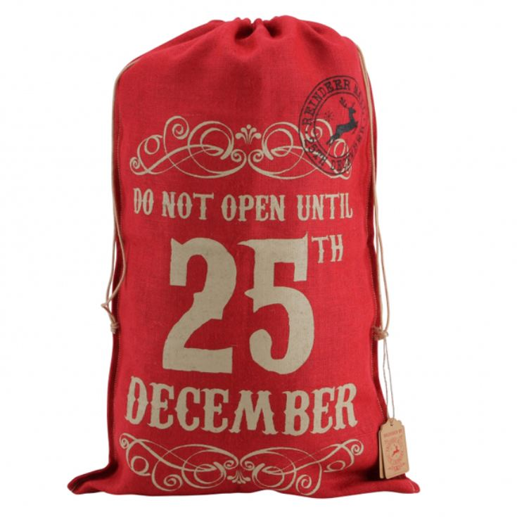 Do Not Open Till 25th Red Hessian Santa Sack product image