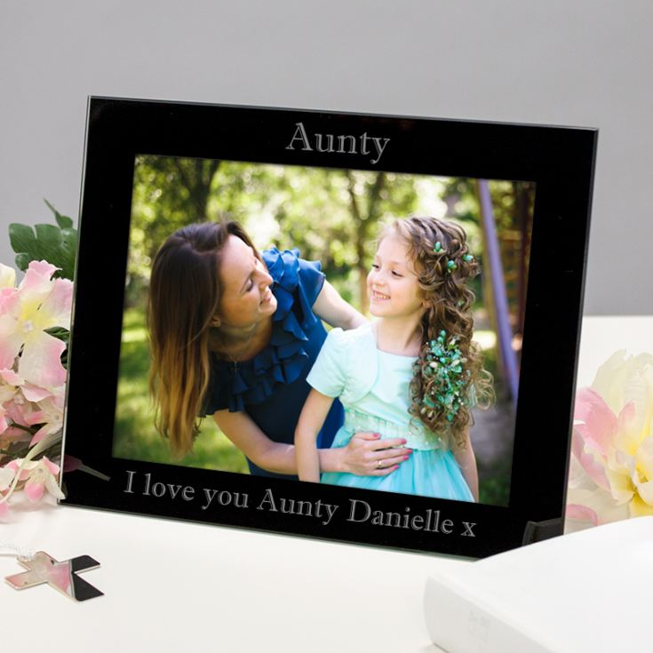 Personalised Aunty Black Glass Photo Frame product image