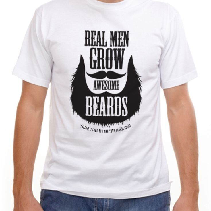 Personalised Real Men Grow Awesome Beards T-Shirt product image