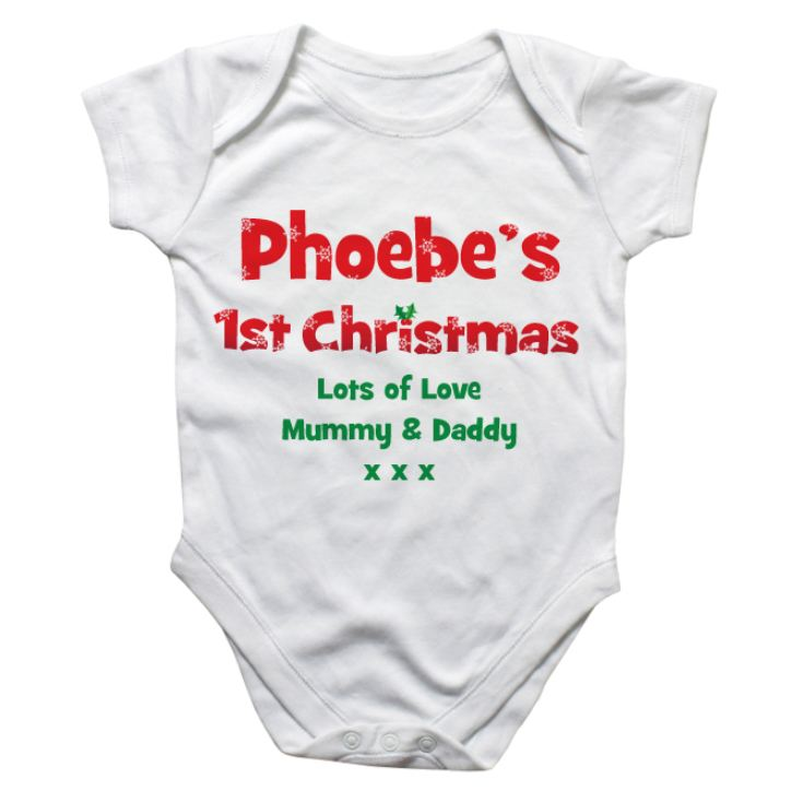 Personalised First Christmas Baby Grow product image