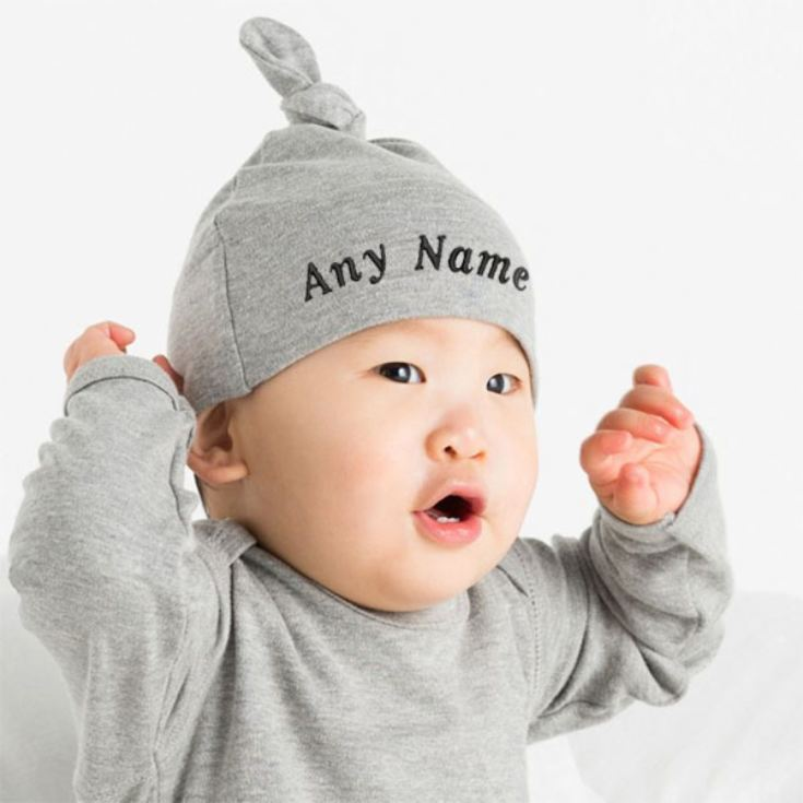 Personalised Embroidered Baby Knot Hat product image