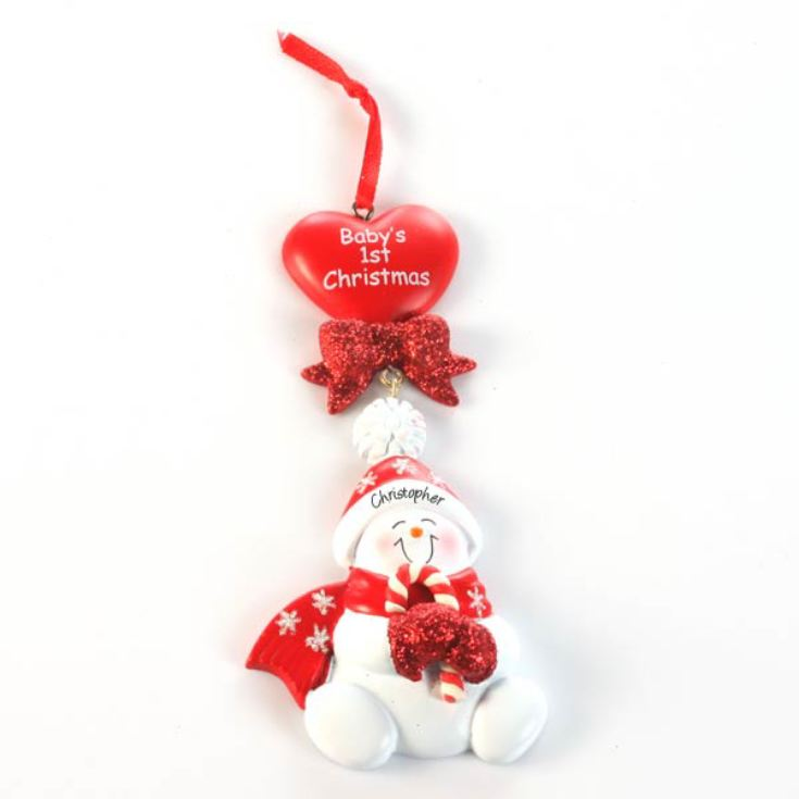 Personalised Baby's 1st Christmas Red Heart Ornament product image