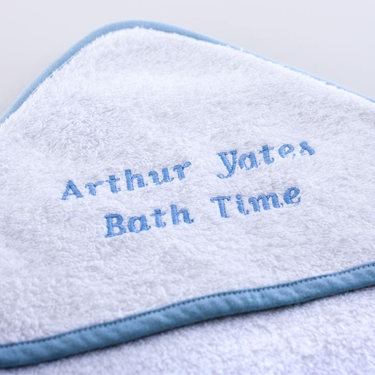 Personalised Embroidered Baby's White With Blue Trim Hooded Towel product image