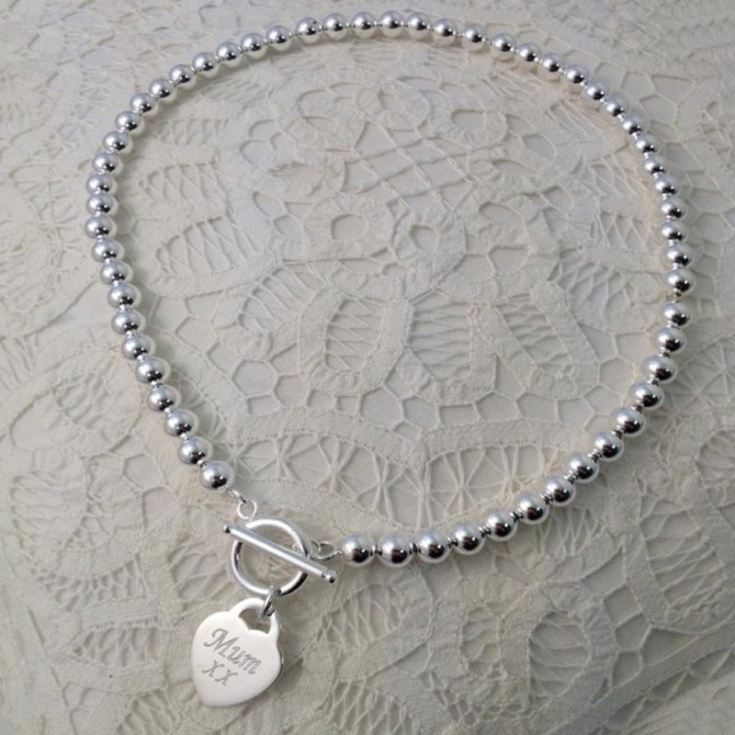 Silver Plated Bead Necklace With Silver Plated Engraved Heart and Personalised Gift Box product image