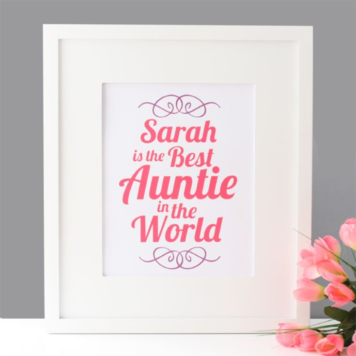 Personalised Best Auntie in the World Framed Print product image