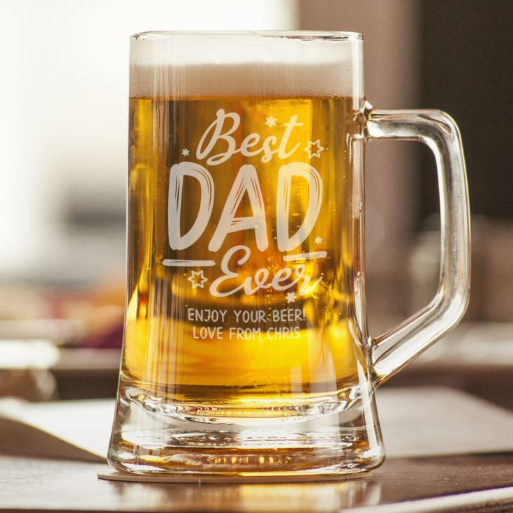 Personalised Best Dad Ever Glass Stern Tankard product image