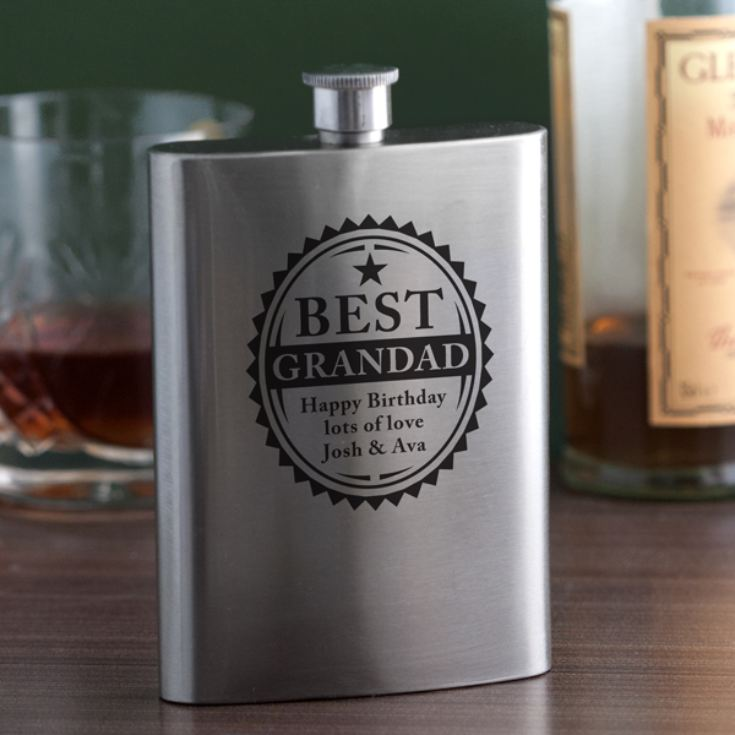 Personalised Best Grandad Hip Flask product image