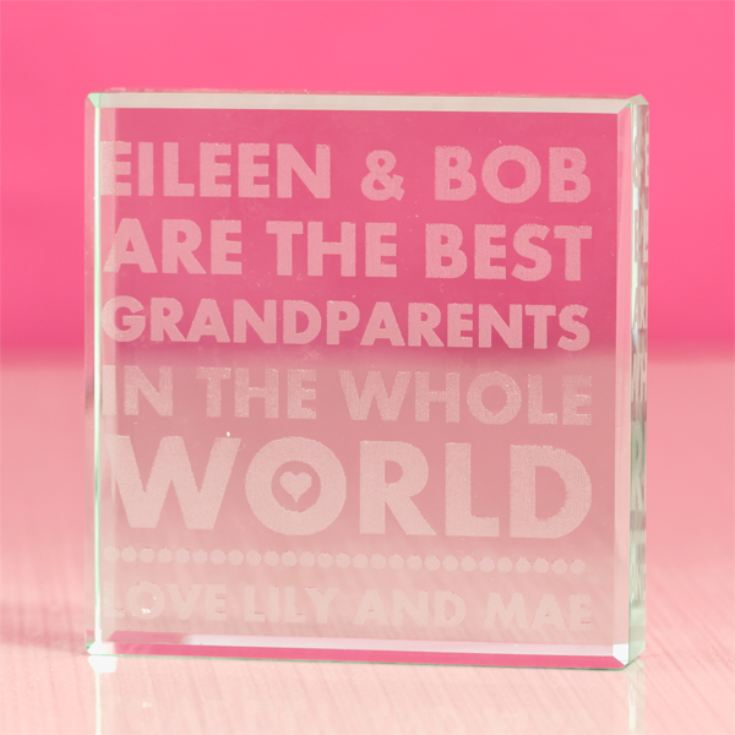 Personalised Best Grandparents in the World Glass Keepsake product image