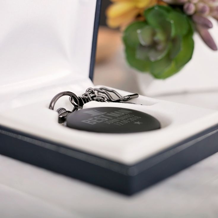 Best Man Personalised Black Pocket Watch product image