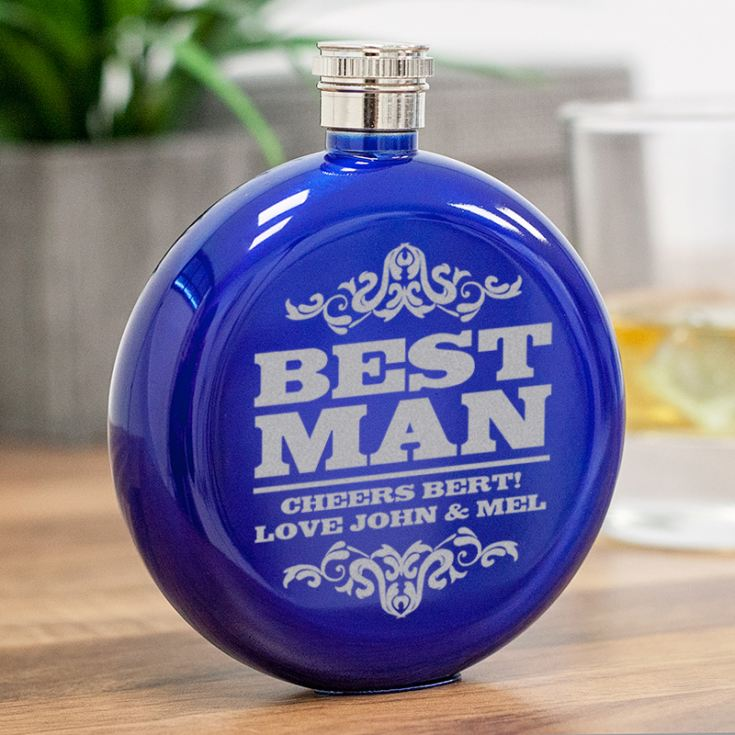 Personalised Best Man Round Blue Stainless Steel Hipflask product image
