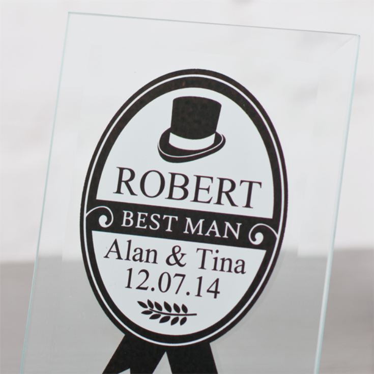Personalised Best Man Glass Plaque product image