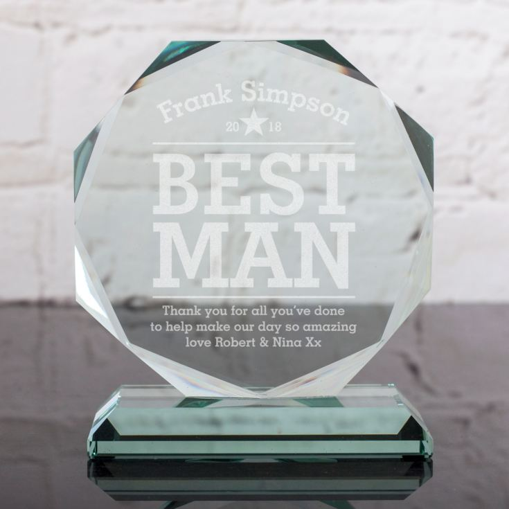 Personalised Best Man Glass Octagon Award product image