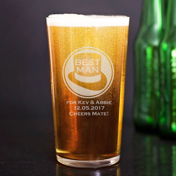Personalised Best Man Straight Sided Pint Glass product image