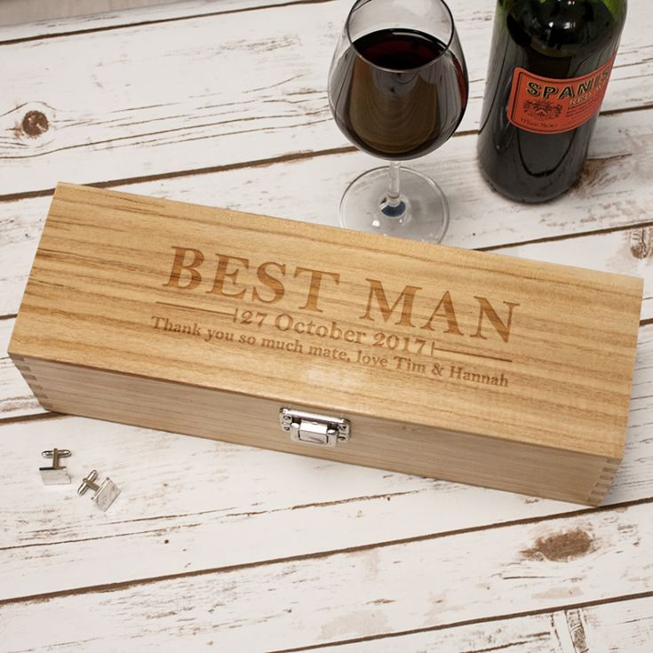 Personalised Best Man Luxury Wooden Wine Box product image