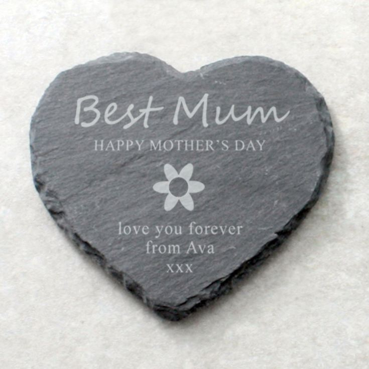 Best Mum Personalised Heart Shaped Slate Coaster product image
