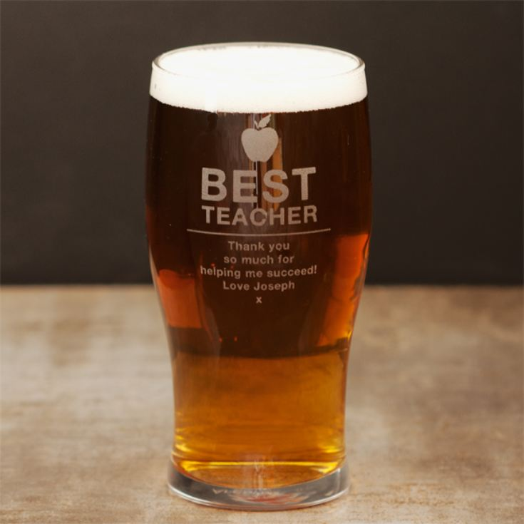 Personalised Best Teacher Pint Glass product image