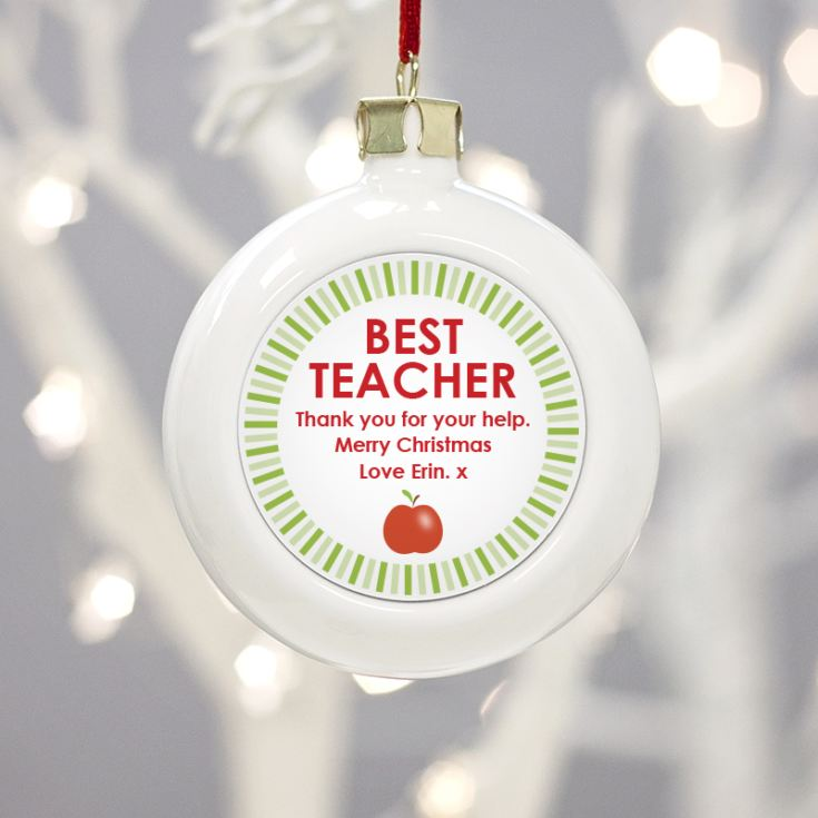 Personalised Best Teacher Christmas Bauble product image