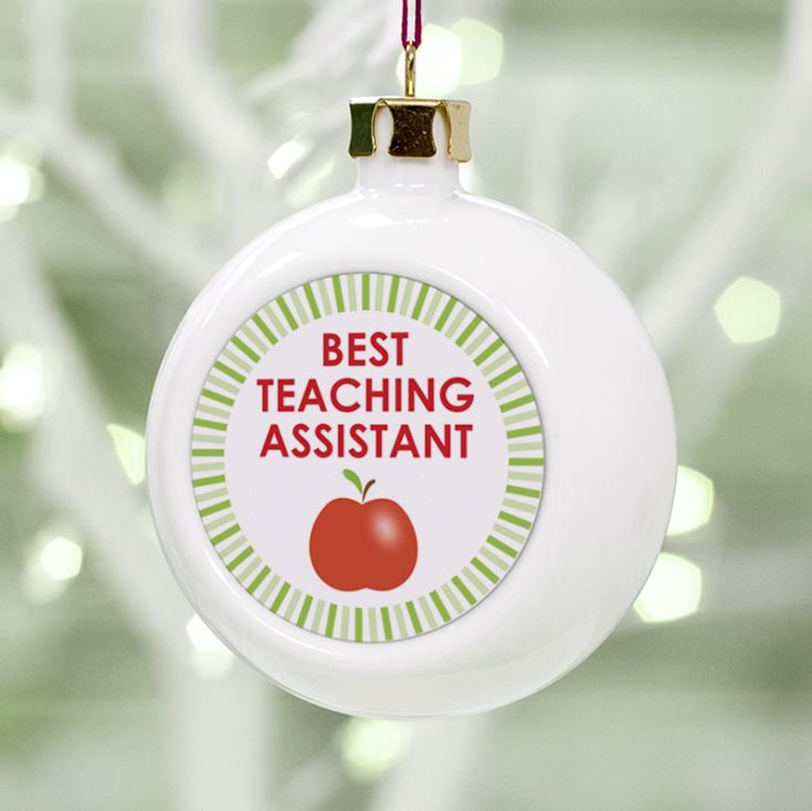 Personalised Best Teaching Assistant Christmas Bauble product image