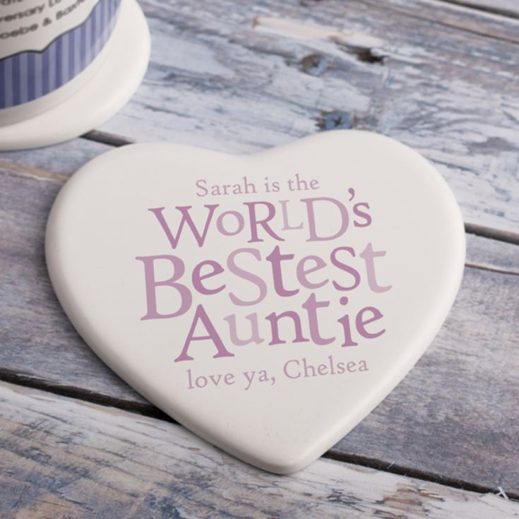Personalised Best Auntie Ceramic Heart Coaster product image