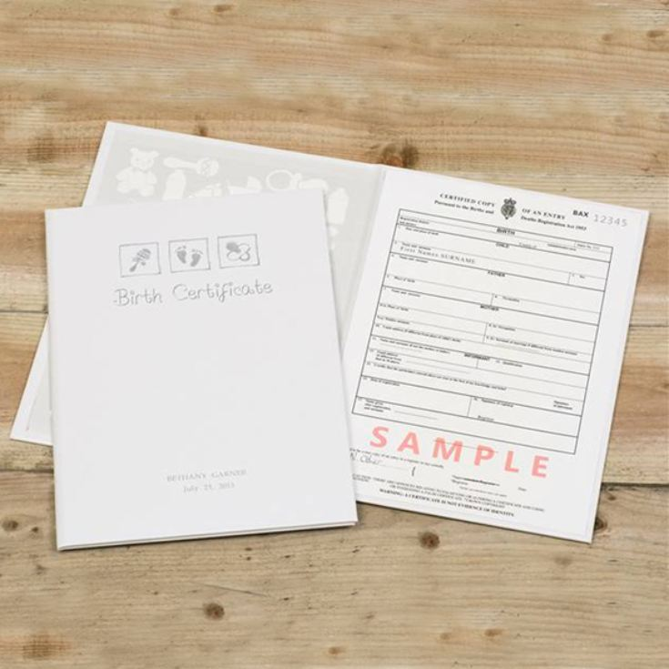 Personalised Birth Certificate Holder product image