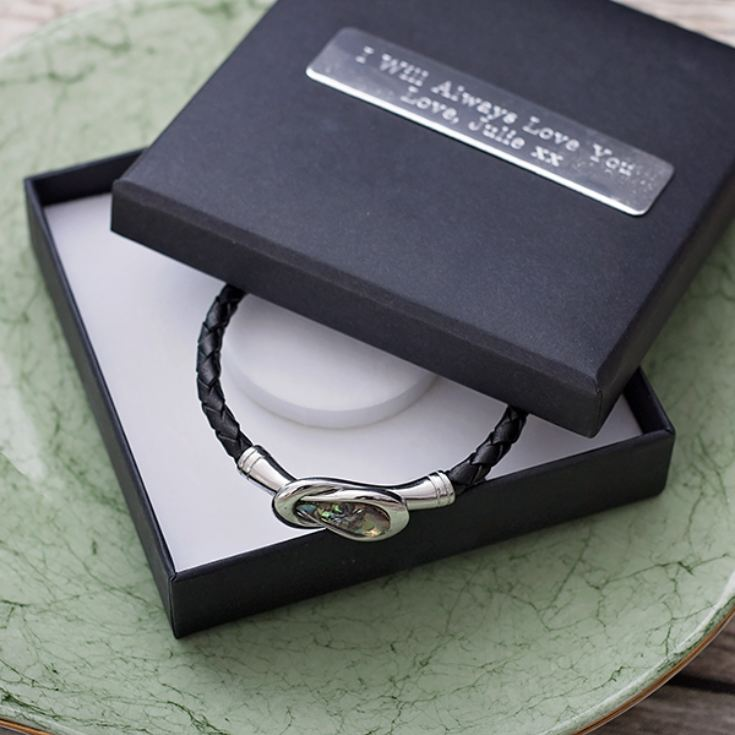 Mens Black Leather Bracelet In Personalised Gift Box product image