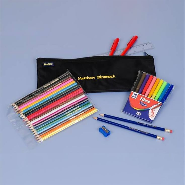 Personalised Black Pencil Case & Contents Black product image