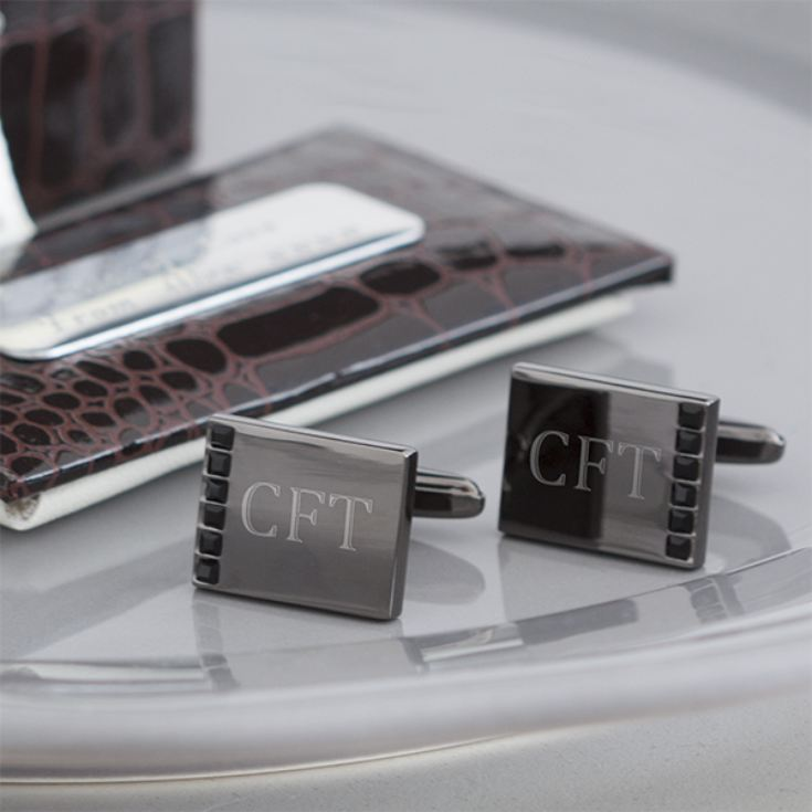 Engraved Cufflinks with Black Crystals in a Personalised Gift Box product image