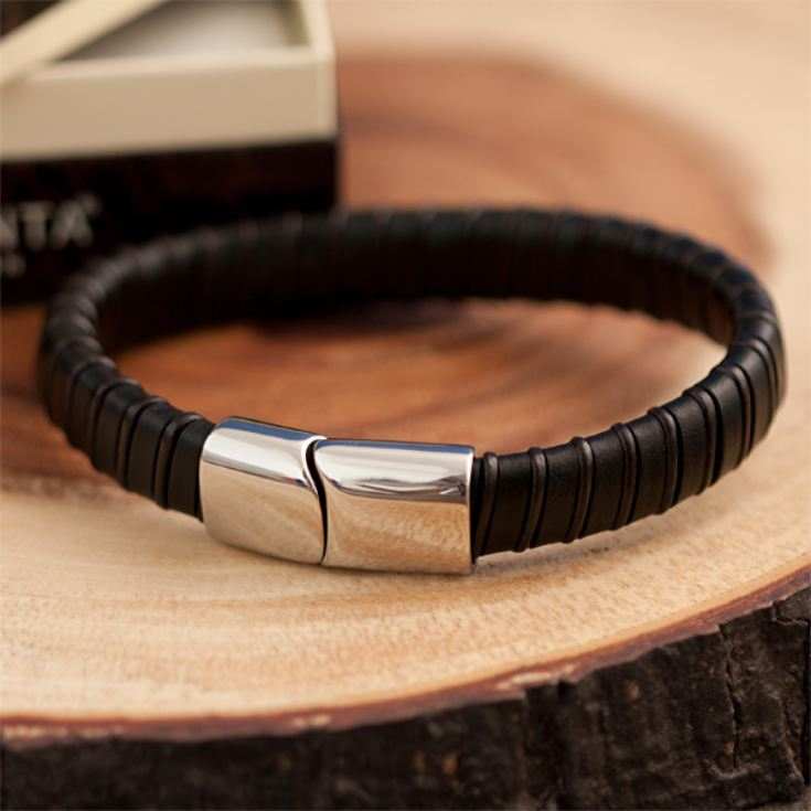 Brown Leather Mens Bracelet in Personalised Gift Box product image