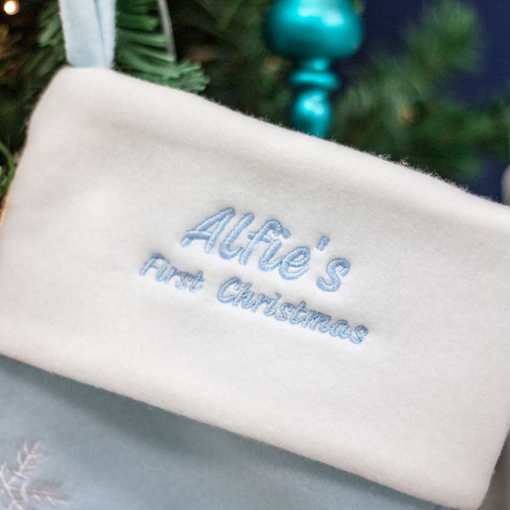 Personalised Luxury My First Christmas Stocking - Blue product image