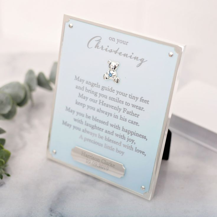 Personalised On Your Christening Engraved Plaque - Blue product image