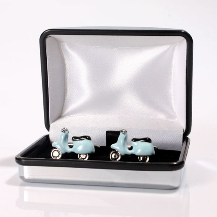 Personalised Blue Scooter Cufflinks product image