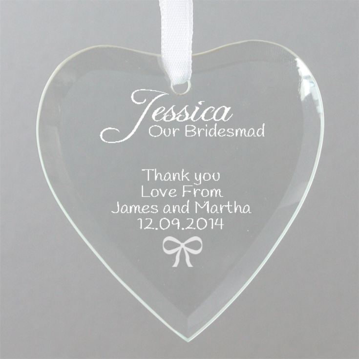Personalised Bridesmaid Hanging Glass Heart product image