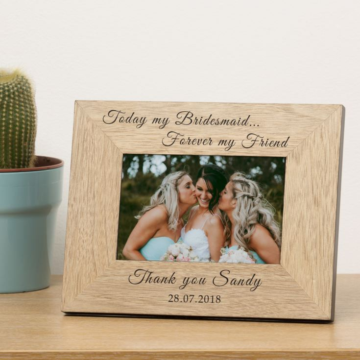 Bridesmaid Personalised Wooden Photo Frame 7x5 product image