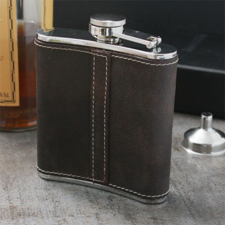 Personalised Brown Leather Hip Flask with Funnel product image