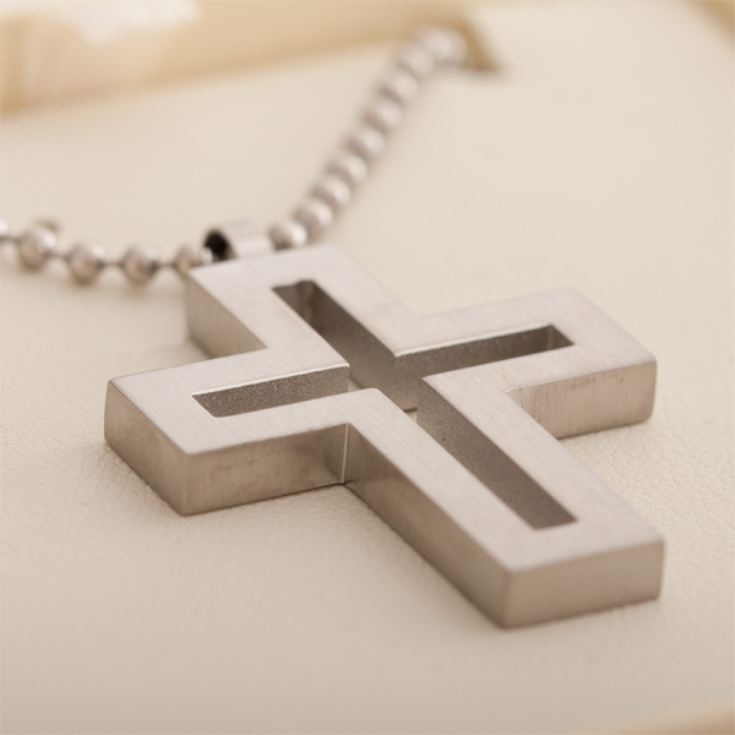 Brushed Stainless Steel Open Cross Pendant in Personalised Gift Box product image