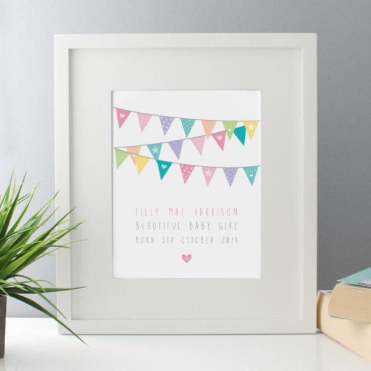 New Baby Girl Bunting Design Personalised Framed Print product image