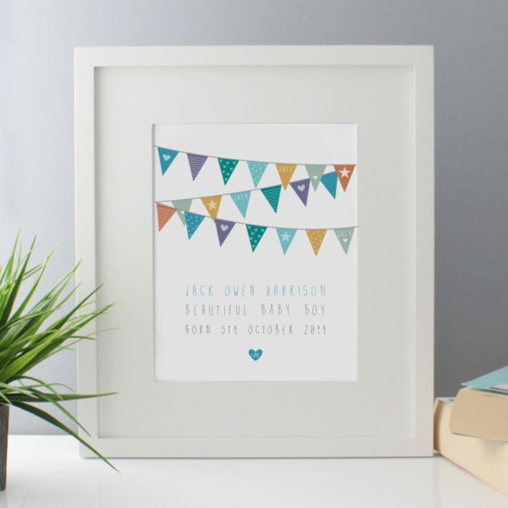 New Baby Boy Bunting Design Personalised Framed Print product image