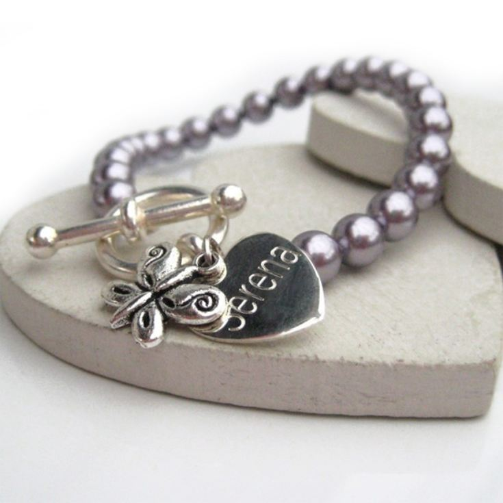 Engraved Butterfly Pearl Bracelet product image
