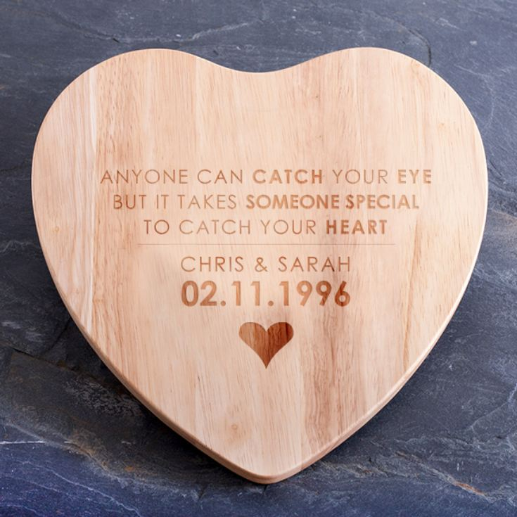 Personalised Catch Your Heart Heart Shaped Chopping Board product image